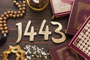 Islamic New Year flat lay on wood photo