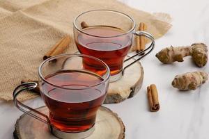 Healthy detox tea with cinnamon and turmeric for immunity photo