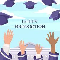 Graduation Background in Flat Design Style vector