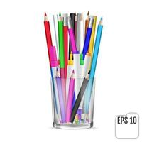 Colored pencils and felttip pencils in a glass vector