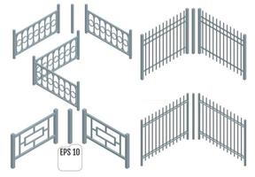 Isometric Metal fence sections vector