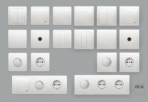 interruptor de pared conjunto de toma de corriente eléctrica vector
