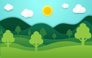 Earth Day Background in Paper Cut Style vector