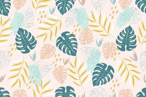 Trendy seamless pattern with tropical leaves vector