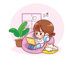 mujer sentada con una computadora portátil en la silla de la bolsa de frijoles trabajar desde casa personaje dibujado a mano ilustración de arte de dibujos animados vector
