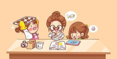 linda chica viendo una clase de cocina en línea en su cocina apoyada en la mesa capacitación en línea cocina casera y leyendo un libro cocinando en casa ilustración de arte de dibujos animados vector