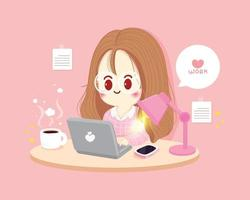 Woman Working at home working on laptop cartoon art illustration vector