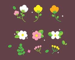 Hand Drawn Spring Flower Floral cartoon art illustration vector