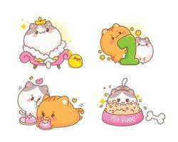Set of happy cute cats, Different gestures cartoon illustration vector
