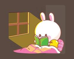 Happy cute rabbit with duck reading book in bed cartoon illustration vector