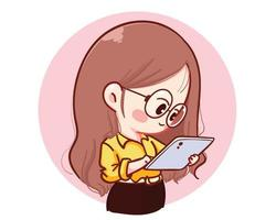 Beautiful young businesswoman checking her tablet cartoon illustration vector