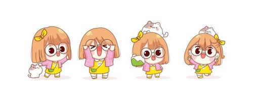 Cute girl in different gestures cartoon illustration vector