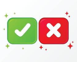 Cruz y marca de verificación conjunto de iconos ilustración de dibujos animados vector