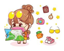 Cute girl with backpack looking at map cartoon illustration vector