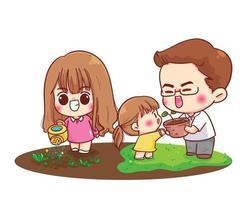 familia feliz, jardinería, padres, juntos, caricatura, ilustración vector