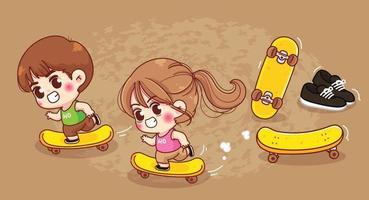 Cute boy and girl play skateboard cartoon illustration vector