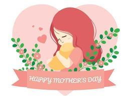hermosa madre e hija, feliz día de la madre personaje de dibujos animados ilustración vector