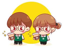 Cute Baristas in aprons holding coffee cartoon character illustration vector