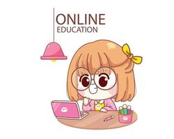Cute kid studying online with laptop cartoon illustration vector