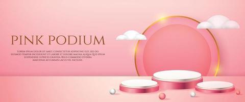 Banner de redes sociales con pantalla de producto 3d, podio rosa y nubes blancas. vector