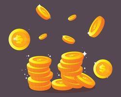 Dollar coins Golden cartoon illustration vector