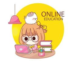 Cute kid Studying online with computer laptop cartoon illustration vector