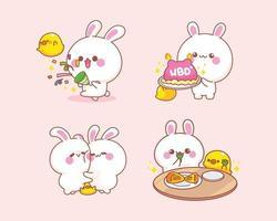 Set of rabbit with duck cartoon illustration vector