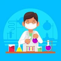 estudiante estudiando quimica vector