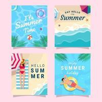 colección de tarjetas de felicitación de verano vector