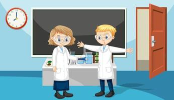 Classroom scene with students wearing laboratory gown vector
