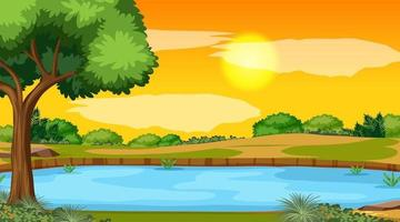 Landscape scene of forest with river and the sun going down vector