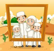 Happy family holding photo frame with mosque on the background vector