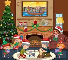 familia feliz en tema navideño en la escena de la sala de estar vector