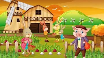 granja en la escena del atardecer con una familia de conejos y un personaje de dibujos animados de cerdo vector