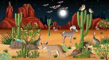 Desert forest landscape at night scene with wild animals vector