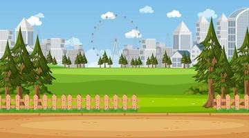 Empty nature park landscape scene with city scape background vector