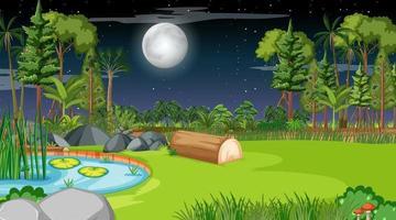 Blank nature landscape at night scene vector