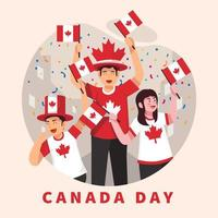 People Celebrating Canada Day vector