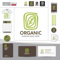 Vector organic and natural emblem and logo design template