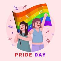 pareja con bandera arcoiris vector