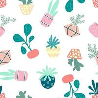 Home potted plants seamless pattern. Indoor flowers. Pattern in earthy and natural colors in boho style vector