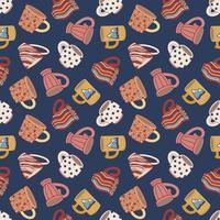 Seamless pattern with cups and mugs. Cute ceramic tableware. Design of textiles, menus, canteens, eateries, cafes and restaurants. vector