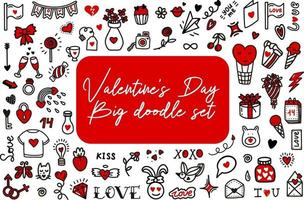 Valentines day love doodles. Vector illustration in doodle style. Design for Valentines Day, wedding, Greeting Cards
