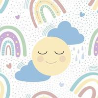 arco iris con nubes, sol y corazones de patrones sin fisuras. patrón infantil delicado. diseño para textiles, papel, imprenta. vector