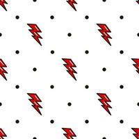 rayo de patrones sin fisuras. relámpago rojo al estilo de la vieja escuela. ilustración vectorial vector