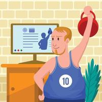 Gym at Home Concept vector