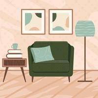 elegantes interiores de apartamentos en estilo escandinavo vector