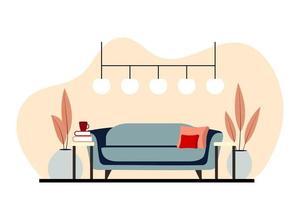 elegantes interiores de apartamentos en estilo escandinavo con una decoración moderna vector