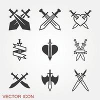 Swords cross crosswise icon vector