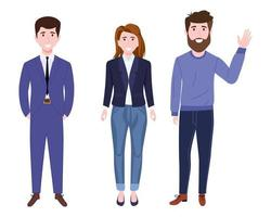 Young happy businessmen and businesswoman characters team wearing business outfit standing and posing vector